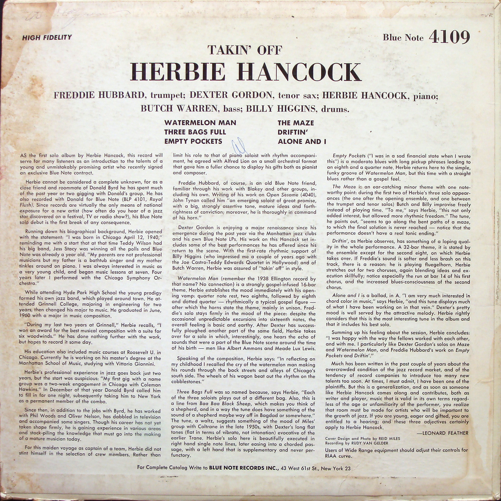 Herbie Hancock Takin Off Lp Blue Note 4109 Us 62 Ny Rvg