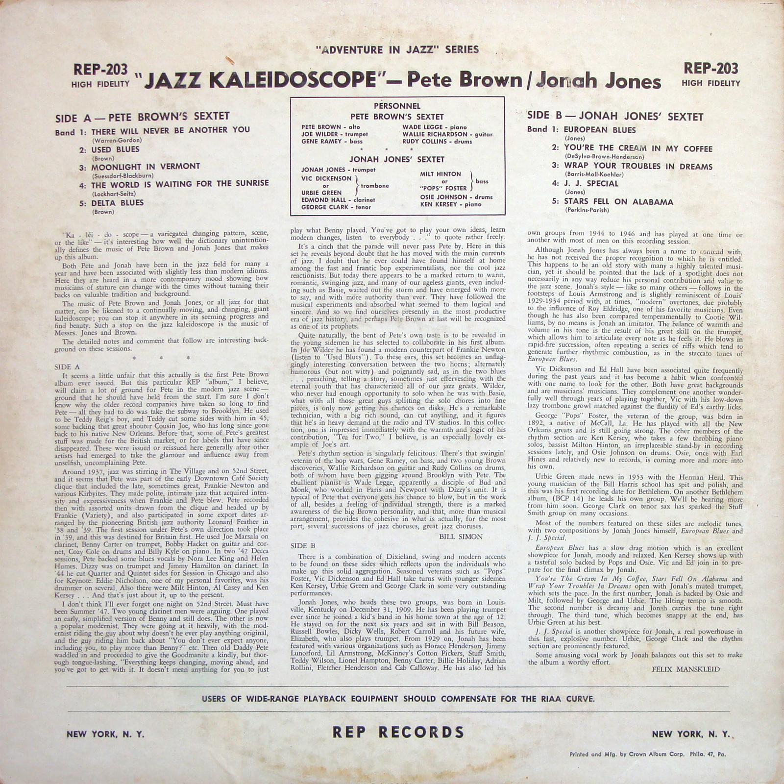 Pete Brown - Jonah Jones - Jazz Kaleidoscope
