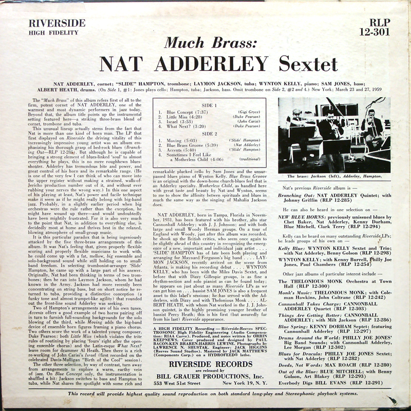 Nat Adderley Sextet Much Brass LP Back
