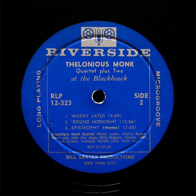 Thelonious Monk At The Blackhawk Lp Riverside Rlp 12 323